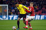 Etienne Capoue of Watford (L) in action. The Emirates FA Cup, 3rd round match, Watford v Bristol City  at Vicarage Road in Watford, London on Saturday 6th January 2018.<br /> pic by Steffan Bowen, Andrew Orchard sports photography.