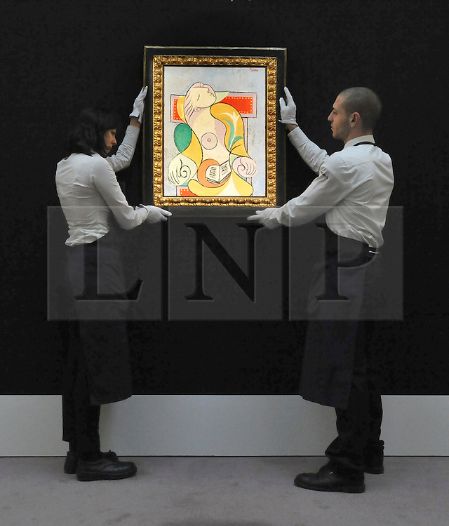 A major painting by Pablo Picasso depicting Marie-Thérèse Walter, the woman who transformed both Picasso's life and his art, has just sold at Sotheby's for £25,241,250 / $40,711,612 / EUR29,744,296 - more than doubling the low estimate of £12 million. ©London News pictures...31.01.2011. Picasso's Portrait of his mistress and muse Marie-Therese, from 1932 is expected to raise 12 - 18million. Highlights of upcoming Sotheby's sales of impressionist and modern art and contemporary art. Works on show include a Picasso portrait of his mistress and muse Marie-Therese, from 1932 which is estimated to fetch £12 to £18 million, a private commission by Marc Chagall - never before seen on the market - estimated to fetch in excess of £10m and a Hockney painting estimated at £1 to £1.5m. . Picture Credit should read Stephen Simpson/LNP