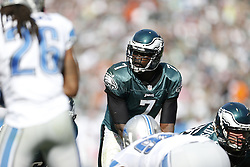 Philadelphia Eagles quarterback Michael Vick (7) during the NFL game between the Detroit Lions and the Philadelphia Eagles on Sunday, October 14th 2012 in Philadelphia. The Lions won 26-23 in Overtime. (Photo by Brian Garfinkel)