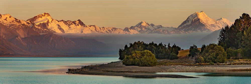 Aoraki  Mount Cook & Mt Tasman (right) - Mt Sefton (left)  morning panorama across Lake Pukaki, Mackenzie Country, Canterbury.