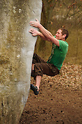 Harry Pennells on the tenuous layback of Appartenance, 7c, Buthiers
