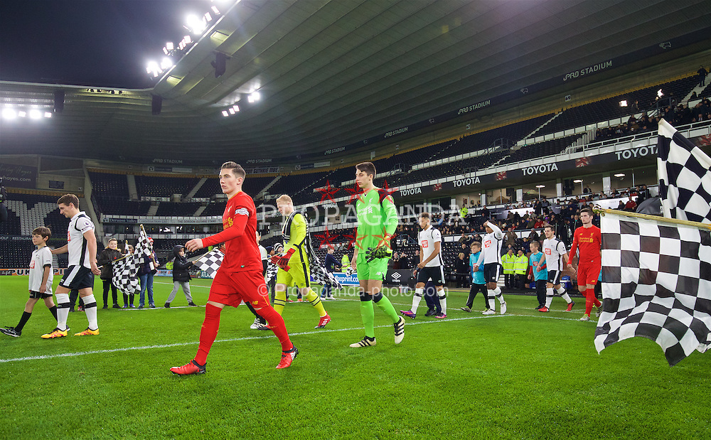 DERBY, ENGLAND - Monday, November 28, 2016: Liverpool's Harry Wilson leads his side out to face Derby County during the FA Premier League 2 Under-23 match at Pride Park. (Pic by David Rawcliffe/Propaganda)