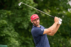 June 3, 2018 - Dublin, OH, U.S. - DUBLIN, OH - JUNE 03:  Dustin Johnson plays his shot from the 14th tee during the final round of the Memorial Tournament at Muirfield Village Golf Club in Dublin, Ohio on June 03, 2018. (Photo by Shelley Lipton/Icon Sportswire) (Credit Image: © Shelley Lipton/Icon SMI via ZUMA Press)