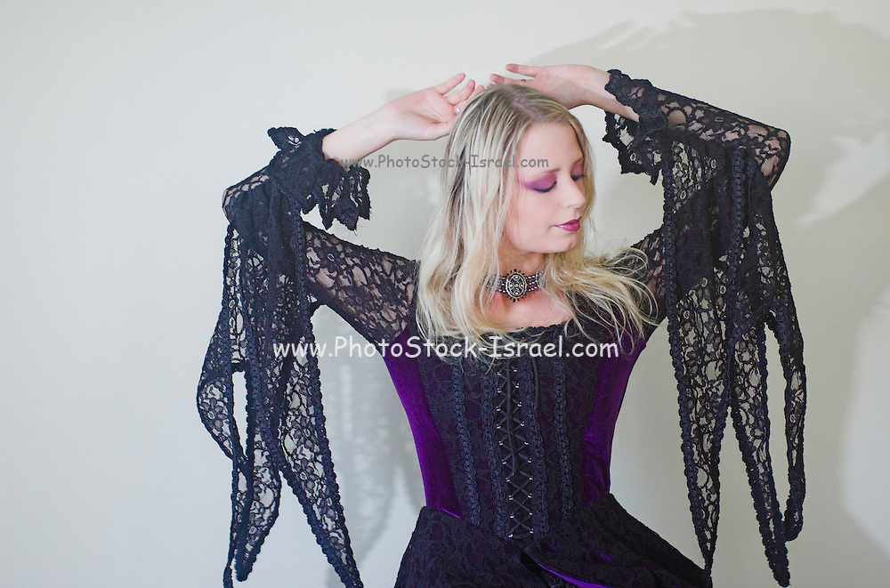 A model wearing Gothic style clothes