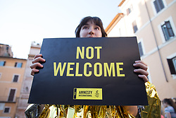 June 20, 2017 - Roma, RM, Italy - For the World Refugee Day, the ''Amnesty International Italia'' activists have organized a flash mob in Rome in front of the Pantheon. (Credit Image: © Matteo Nardone/Pacific Press via ZUMA Wire)