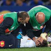 Morgan Parra, France, is treated by medics during the New Zealand V France Final at the IRB Rugby World Cup tournament, Eden Park, Auckland, New Zealand. 23rd October 2011. Photo Tim Clayton...