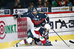 04.01.2015, Dom Sportova, Zagreb, CRO, KHL League, KHL Medvescak vs Slovan Bratislava, 43. Runde, im Bild Bill Thomas, Jeglic Ziga. // during the Kontinental Hockey League 43th round match between KHL Medvescak and Slovan Bratislava at the Dom Sportova in Zagreb, Croatia on 2015/01/04. EXPA Pictures © 2015, PhotoCredit: EXPA/ Pixsell/ Davor Puklavec<br /> <br /> *****ATTENTION - for AUT, SLO, SUI, SWE, ITA, FRA only*****