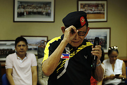 August 9, 2016 - Former president of the Philippines, Fidel Valdez Ramos (88) making playful gesture with the visiting medias at the press conference held by Consulate General of the Philippines in Hong Kong. Aug 9, 2016. Hong Kong. Liau Chung Ren/ZUMA (Credit Image: © Liau Chung Ren via ZUMA Wire)