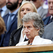 LONDON, ENGLAND - JULY 15:  Virginia Wade and Martina Navratilova watching the Ladies Singles Final between Garbine Muguruza of Spain and Venus Williams of The United States in the Wimbledon Lawn Tennis Championships at the All England Lawn Tennis and Croquet Club at Wimbledon on July 15, 2017 in London, England. (Photo by Tim Clayton/Corbis via Getty Images)