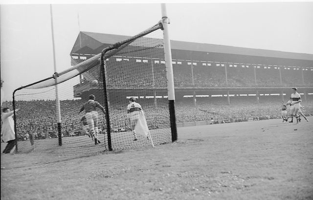 Galway goalie defends goal during the All Ireland Minor Gaelic football final Derry v. Kerry in Croke park on the 26th September 1965.