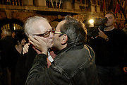 Antwerp, Belgium, Oct 08, 2006, The two writers Hugo CLAUS and Tom LANOYE celebrate the victory of the socialistic party after the communal elections.
