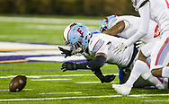AC Flora Falcons Ja'Marion Perkins (8) recovers a North Myrtle Beach Chiefs fumble during the first half the state championship game at Benedict College.