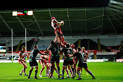 Gloucester Number 8 (#8) Peter Buxton (capt) wins a lineout during the first half of the match - Photo mandatory by-line: Rogan Thomson/JMP - Tel: Mobile: 07966 386802 09/11/2012 - SPORT - RUGBY - Liberty Stadium - Swansea. Ospreys v Gloucester - LV= Cup
