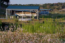 Perdenales River boat house on dry land from drought in central Texas.