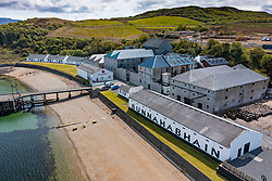 Aerial view from drone of Bunnahabhain scotch whisky distillery of island of Islay, Inner Hebrides, Scotland UK