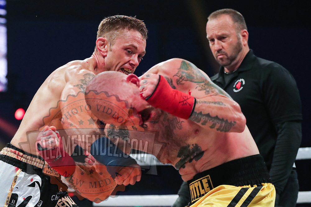 TAMPA, FL - FEBRUARY 05: John Chalbeck (L) punches  Greg Bono during the BKFC KnuckleMania event at RP Funding Center on February 5, 2021 in Tampa, Florida. (Photo by Alex Menendez/Getty Images) *** Local Caption *** John Chalbeck; Greg Bono
