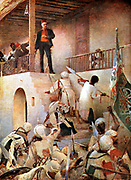 Charles George Gordon (1833-1885) English soldier, called 'Chinese Gordon'. His death at Khartoum when city fell to the troops of the Mahdi, 16 January 1885. After painting by GW Joy.
