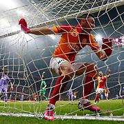 Galatasaray's Burak Yilmaz scores during their Turkish Superleague soccer match Galatasaray between Orduspor at the AliSamiyen Spor Kompleksi TT arena in Istanbul Turkey on Monday 25 February 2013. Photo by Aykut AKICI/TURKPIX