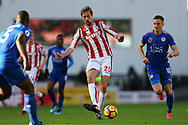 Peter Crouch of Stoke City (c)  in action. Premier league match, Stoke City v Leicester City at the Bet365 Stadium in Stoke on Trent, Staffs on Saturday 4th November 2017.<br /> pic by Chris Stading, Andrew Orchard sports photography.