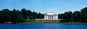 Panoramic view of the Uzutrakis Palace, along Lake Galve, near Trakai, Lithuania