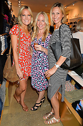 Left to right, CHRISSIE REEVES, JULIE BETTRIDGE and ROSIE NIXON at a party to celebrate the paperback lauch of The Stylist by Rosie Nixon hosted by Donna Ida at her store at 106 Draycott Avenue, London on 17th August 2016.