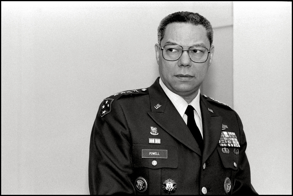General Colin Powell back stage before speaking at The Grace Rainey Rogers Auditorium at The Metropolitan Museum of Art on December 16, 1991.