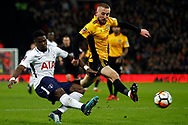 Serge Aurier of Tottenham Hotspur (L) delivers a cross into the Newport box as Dan Butler of Newport county tries to block. . The Emirates FA Cup, 4th round replay match, Tottenham Hotspur v Newport County at Wembley Stadium in London on Wednesday 7th February 2018.<br /> pic by Steffan Bowen, Andrew Orchard sports photography.