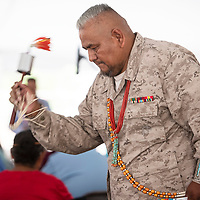 23rd Navajo Nation Council delegate Davis Filfred participating in a gourd dance, Tuesday August 14, at Navajo Code Talker Day in Window Rock. Filfred served in the Marines and said he comes to Window Rock every year to honor the code talkers.