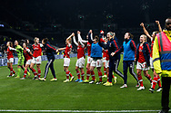 Vivianne Miedema, Beth Mead, Manuela Zinsberger, Emma Mitchell and other Arsenal players celebrate after the FA Women's Super League match between Tottenham Hotspur Women and Arsenal Women FC at Tottenham Hotspur Stadium, London, United Kingdom on 17 November 2019.