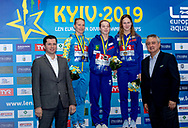 (L to R) Vladimir Oliinyl LIKO, FEDOROVA Olena UKR Ukraina Silver Medal, KOROLEVA Vitaliia RUS Russia Gold Medal, ILINYKH Kristina RUS Russia bronze medal, Paolo Barelli LEN president<br />  Kyiv, Ukraine UKR 10/08/2019<br /> Diving 1 meter springboard women podium<br /> Len European Diving Championships 2019<br /> Sport Arena Liko Kyiv, Ukraine<br /> Photo © Giorgio Scala / Deepbluemedia / Insidefoto