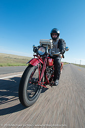 Hans Coertse riding his 1924 Indian Scout during Stage 9 (249 miles) of the Motorcycle Cannonball Cross-Country Endurance Run, which on this day ran from Burlington to Golden, CO., USA. Sunday, September 14, 2014.  Photography ©2014 Michael Lichter.