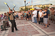 A street performer during the Sunset Celebration Mallory Square, Key West, Florida.
