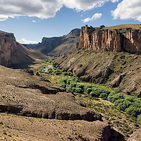 """The Pinturas River Valley can be seen by leaving Ruta 40, the longest road of Argentina. If you pass near the valley, don't miss the famous cave """"Cueva de las Manos""""."""