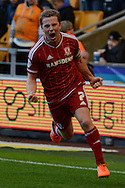 Middlesbrough midfielder Grant Leadbitter celebrates scoring a penalty during the Sky Bet Championship match between Wolverhampton Wanderers and Middlesbrough at Molineux, Wolverhampton, England on 24 October 2015. Photo by Alan Franklin.