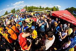 Tim Gajser #243 of Slovenia with fans during motocross race for Slovenian national championship in Prilipe, Brezice, Slovenija on 9th of April, 2017, Slovenia. Photo by Grega Valancic / Sportida