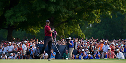 August 12, 2018 - St. Louis, Missouri, United States - Tiger Woods reacts after a birdie putt on the 18th green during the 100th PGA Championship at Bellerive Country Club. (Credit Image: © Debby Wong via ZUMA Wire)