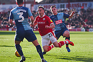 Mike-Steven Bahre of Barnsley (21) is fouled by Luke Bolton of Wycombe Wanderers (17) for a penalty to Barnsley during the EFL Sky Bet League 1 match between Barnsley and Wycombe Wanderers at Oakwell, Barnsley, England on 16 February 2019.