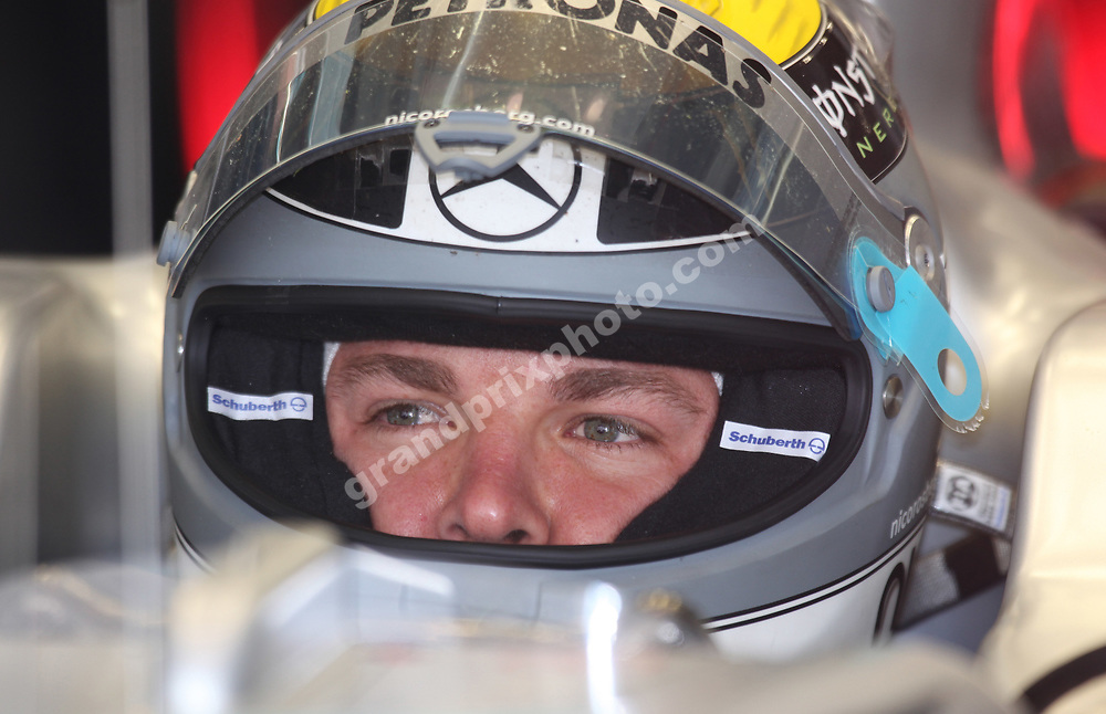Nico Rosberg (Mercedes) with his helmet on during practice for the 2010 Chinese Grand Prix at the Shanghai International Circuit. Photo: Grand Prix Photo