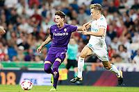 Real Madrid's Marcos Llorente (r) and ACF Fiorentina's Rafik Zekhnini during Santiago Bernabeu Trophy. August 23,2017. (ALTERPHOTOS/Acero)
