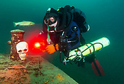 KISS Spirit rebreather diver on the wreck Silver Comet at Dutch Springs, Scuba Diving Resort in  Pennsylvania