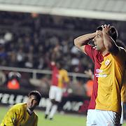 Galatasaray's Milan BAROS (R) during their Turkish Super League soccer match Galatasaray between Bursaspor at the AliSamiYen Stadium at Mecidiyekoy in Istanbul Turkey on Sunday 25 April 2010. Photo by TURKPIX