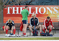 27 June 2013; British & Irish Lions players, from left, Richard Hibbard, Tommy Bowe, Richie Gray and Ian Evans during squad training ahead of their 2nd test match against Australia on Saturday. British & Irish Lions Tour 2013, Squad Training. Scotch College, Hawthorn, Melbourne, Australia. Picture credit: Stephen McCarthy / SPORTSFILE