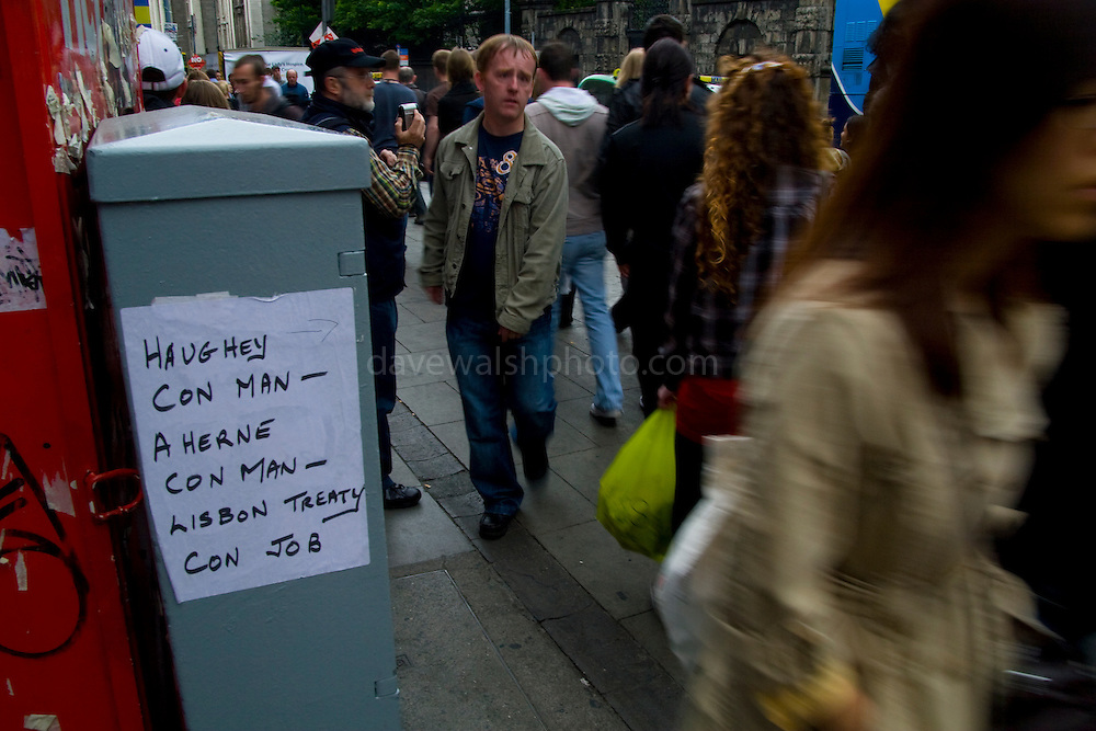 Ireland votes No to Lisbon Treaty - handmade bill on Grafton St. Dublin, from before the Referendum. ..