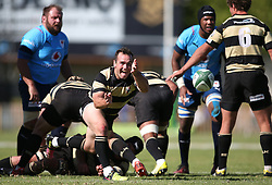 Marnus Hugo of Boland sends the ball back during the Currie Cup premier division match between the Boland Cavaliers and The Blue Bulls held at Boland Stadium, Wellington, South Africa on the 23rd September 2016<br /> <br /> Photo by:   Shaun Roy/ Real Time Images