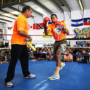 KISSIMMEE, FL - OCTOBER 05: Puerto Rican boxer Felix Verdejo (R) and his trainer Ricky Marquez are seen as they train during a media workout event at the Kissimmee Boxing Gym on October 4, 2015 in Kissimmee, Florida. Verdejo is returning from a hand injury and announced his next fight will take place in Kissimmee on October 31. (Photo by Alex Menendez/Getty Images) *** Local Caption *** Felix Verdejo; Ricky Marquez