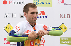 Blaz Furdi of Slovenia (Sava) in the white jersey as the best young cyclist in general classification at the flower ceremony  at hill Krvavec at 3rd stage of Tour de Slovenie 2009 from Lenart to Krvavec, 175 km, on June 20 2009, Slovenia. (Photo by Vid Ponikvar / Sportida)