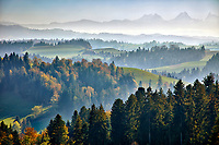Fall colors among the rolling hills of central Switzerland