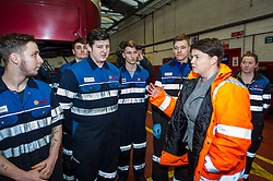 Pictured: Riuth Davidson chatted to the apprentices on shift today<br /> Scottish Conservative leader Ruth Davidson, MSP,  visited Lothian Buses today in Edinburgh to meet apprentices at the start of Apprenticeship Week. While there she was shown round by Managing Director Richard Hall and attempted to change a wheel.<br /> <br /> Ger Harley | EEm 7 March 2017