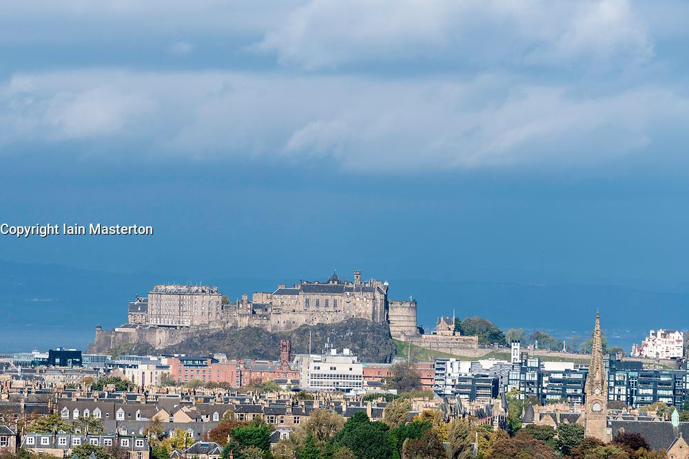 View of Edinburgh Castle and the city from Blackford Hill in Edinburgh, Scotland, United Kingdom.
