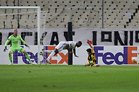 ATHENS, GREECE - OCTOBER 29: Action during the UEFA Europa League Group G stage match between AEK Athens and Leicester City at Athens Olympic Stadium on October 29, 2020 in Athens, Greece. (Photo by MB Media)